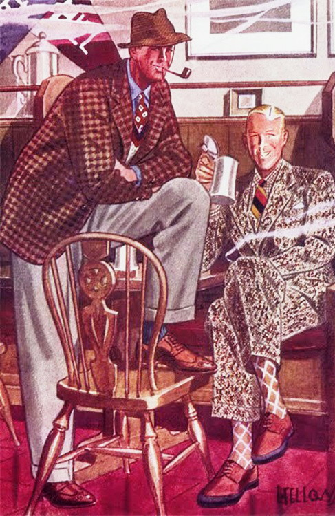 Men's pub fashions, 1930s by L. Fellows