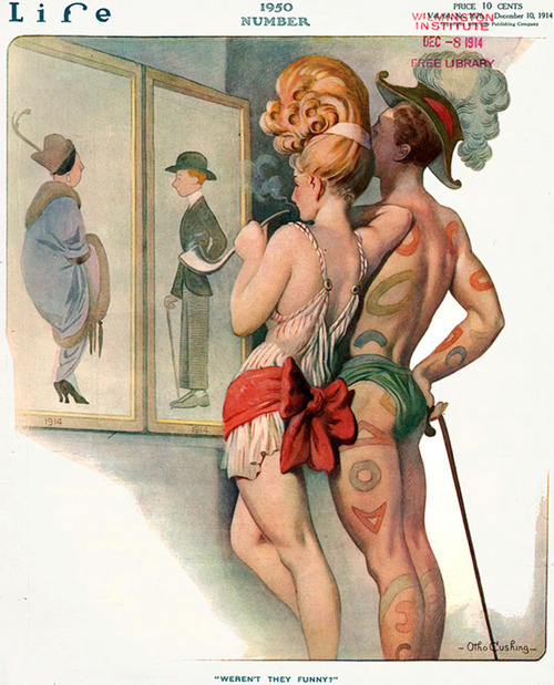 "What people will dress like in 1950 as imagined on the cover of ""Life"", 1914"