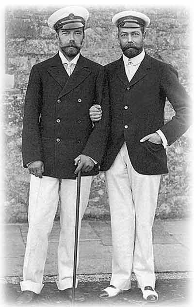 King George V (UK) and Tsar Nicholas II (Russia) in matching naval outfits