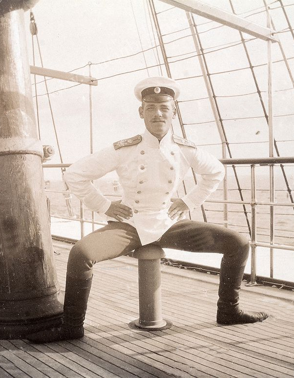 Grand Duke Mikhail of Russia, sitting suggestively on a phallus