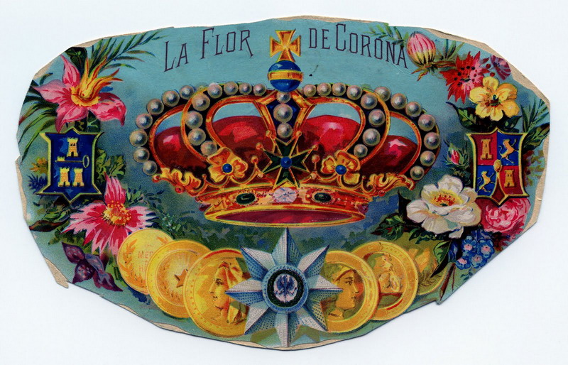 La Flor de Corona, old cigar box illustration