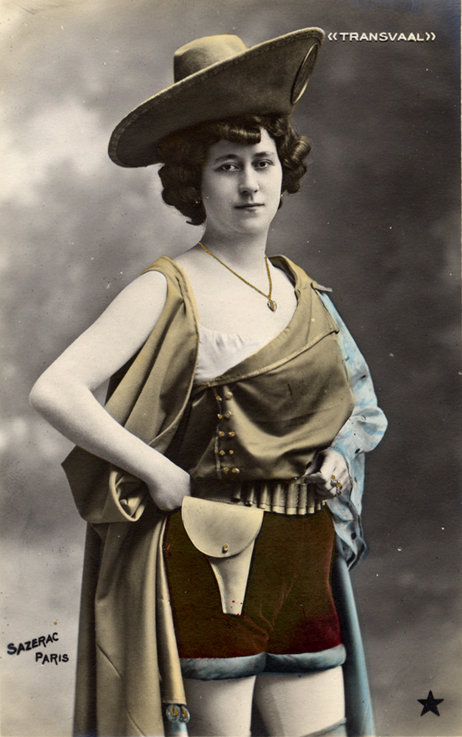 French cowgirl postcard, circa 1900
