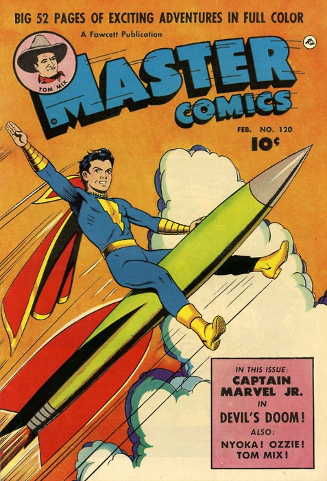 Captain Marvel Jr. riding a rocket