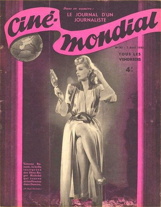Simone Renant on the cover of Cine-Mondiale, 1943