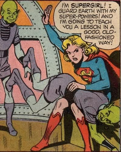 Supergirl, teaching an alien a lesson in a good, old-fashioned way
