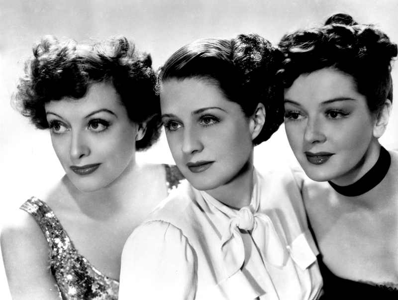 "Joan Crawford, Norma Shearer, and Rosalind Russell in a promo shot for ""The Women"", 1939"