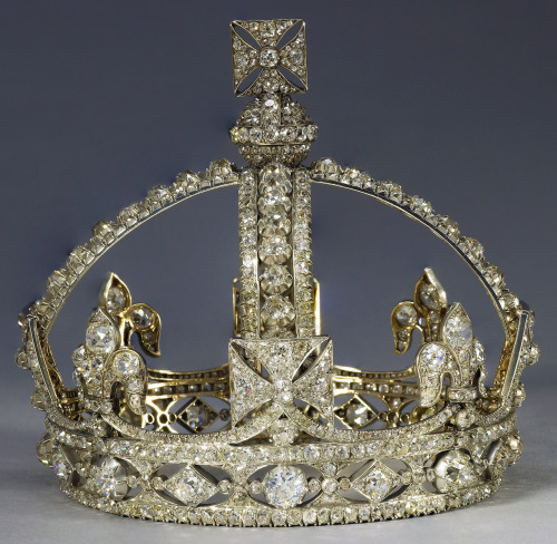 Queen Victoria's Small Diamond Crown, 1870, R & S Garrard Diamonds: A Jubilee Celebration  Credit line: The Royal Collection (c) 2011, Her Majesty Queen Elizabeth II  This photograph is issued to end-user media only. It may be used ONCE ONLY in connection with the Summer Opening of Buckingham Palace and the special exhibition of Diamonds: A Jubilee Celebration, August and September 2012.  Photographs must not be archived or sold on.  Contact: Public Relations and Marketing, the Royal Collection 020 7839 1377
