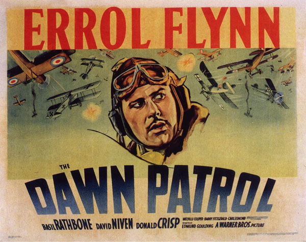 "Poster for Errol Flynn in ""Dawn Patrol"""
