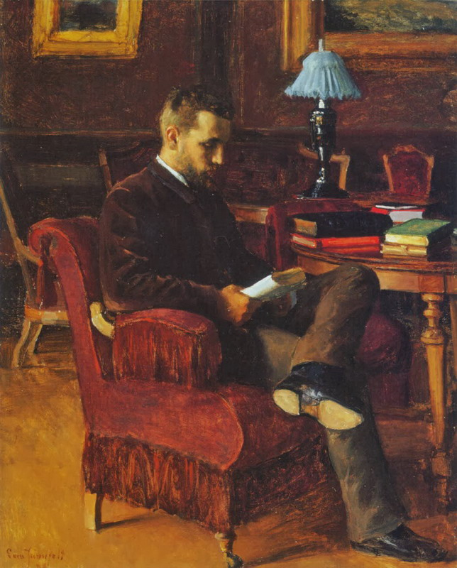 Painting of a bearded man reading a book