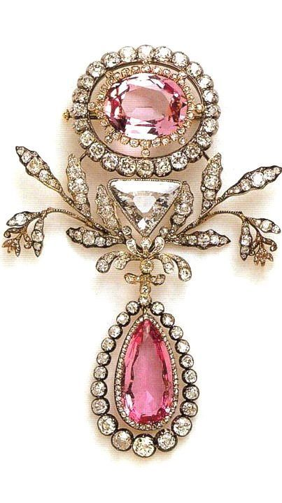 Nice pink topazes set with diamonds