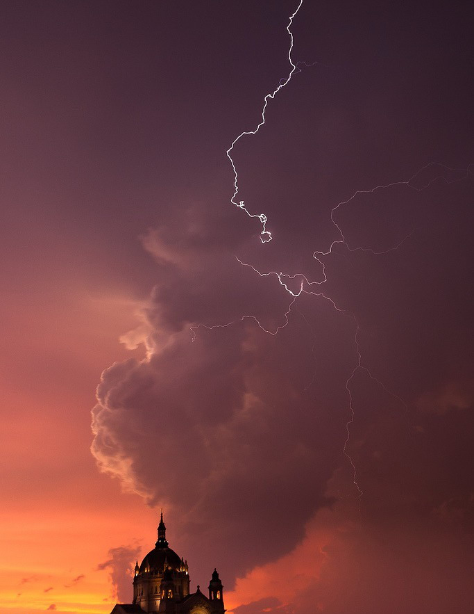 Lightning above a church in Minnesota