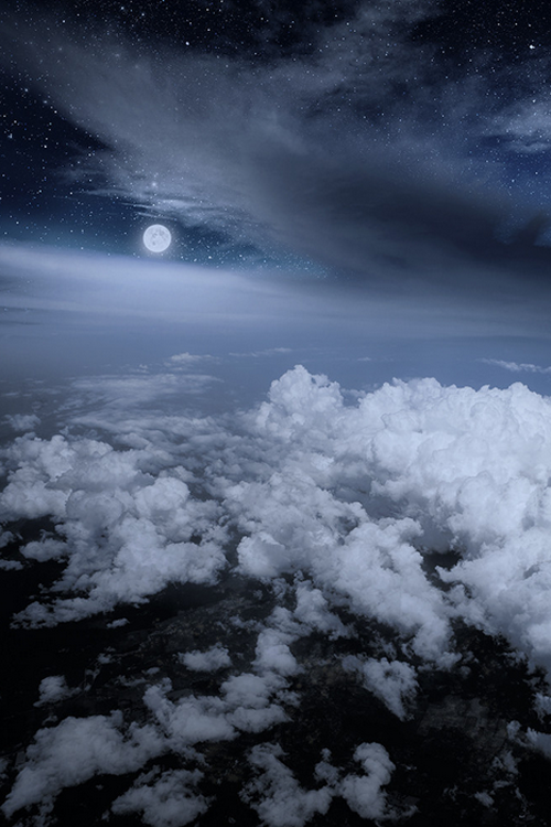 Moon, stars, andclouds