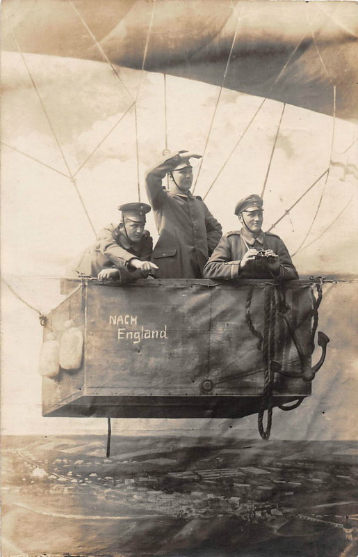 German soldiers in a  balloon, WWI era