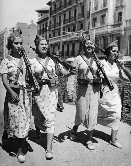 Armed women patrolling the streets of Madrid during the Spanish Civil War, 1937