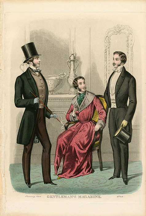 Three Gentlemen, Winter Fashions c. 1856