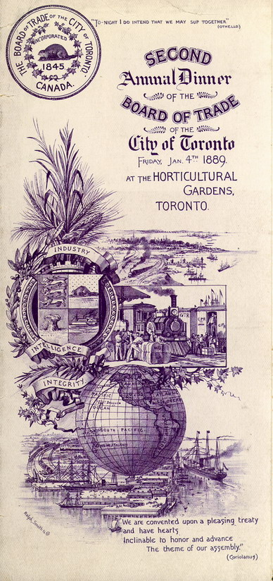Annual Dinner of the Board of Trade of the City of Toronto, 1889