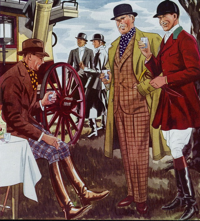 L. Fellows hunting fashion illustration for Esquire,1930s
