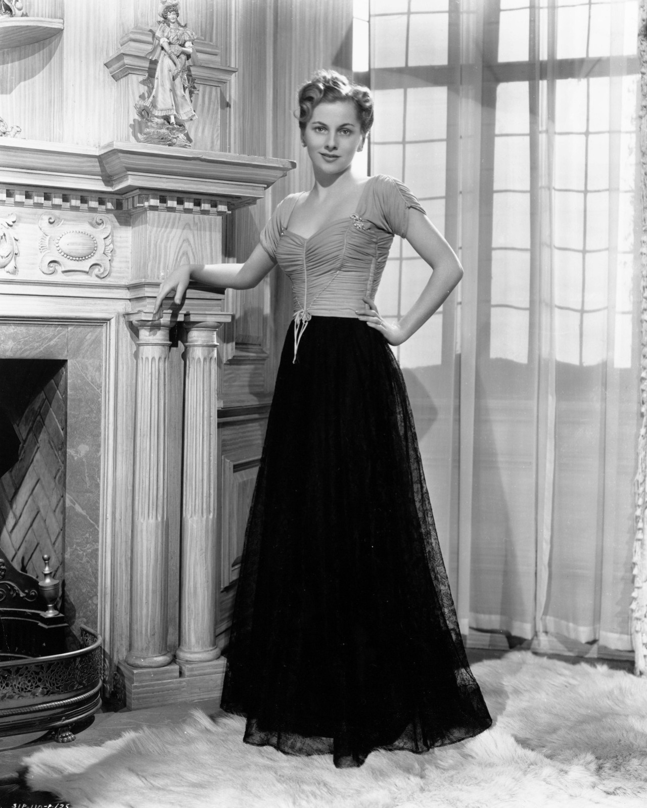 """Joan Fontaine in a promo shot for """"Rebecca"""", on the Manderlayset"""