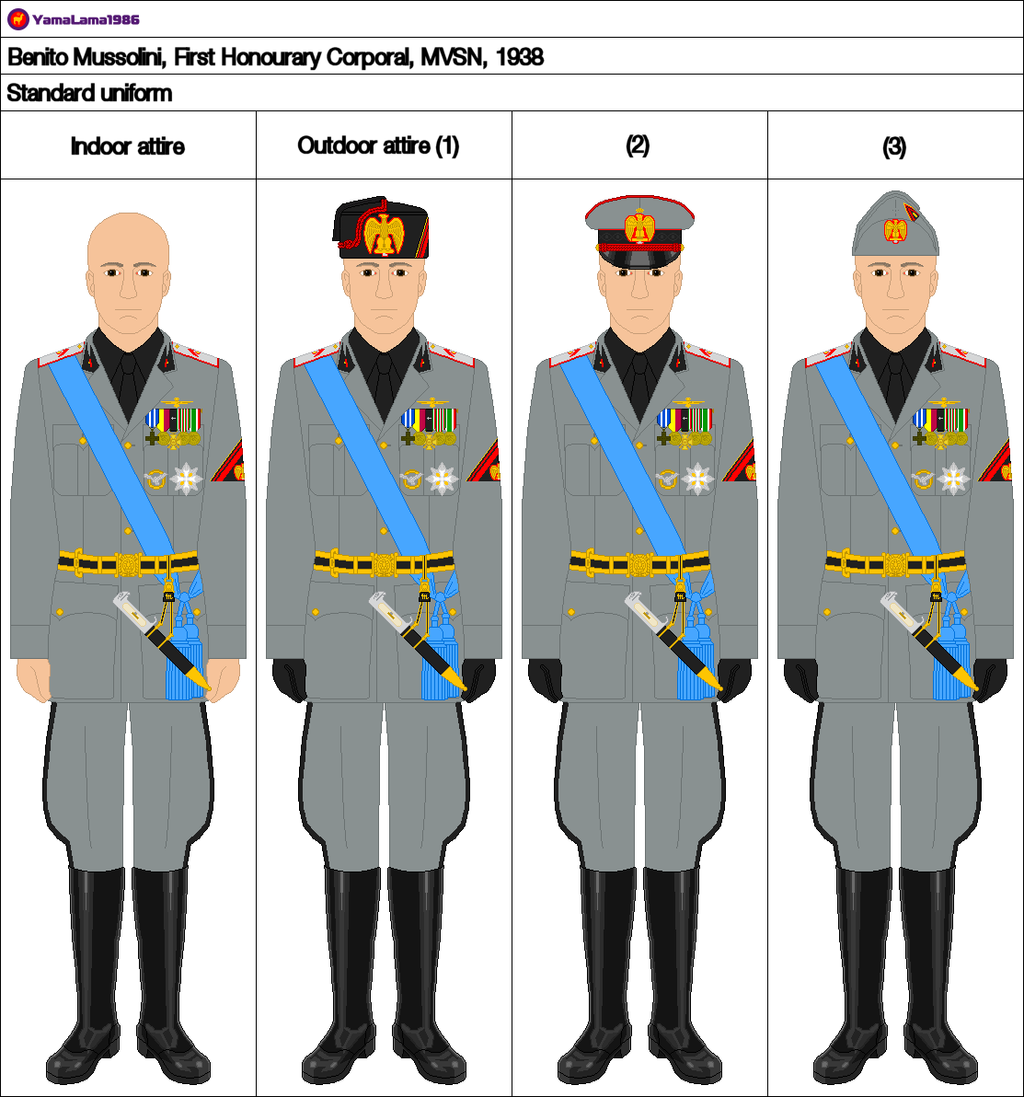 Mussolini's uniforms for semi-official occasions, 1943