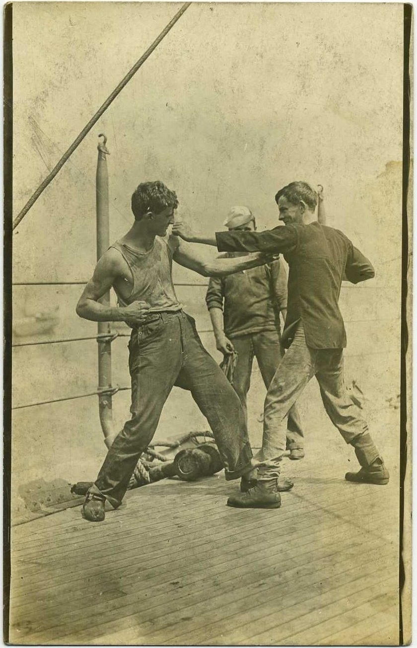 Sparring on the deck of a ship