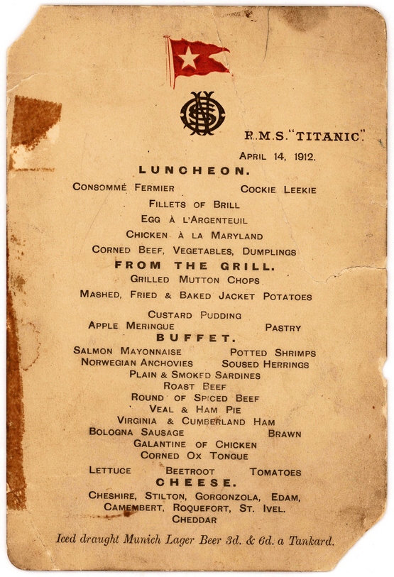 Menu for the last lunch on the Titanic,1912