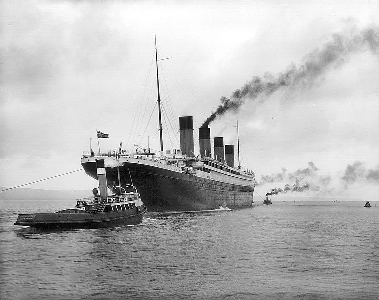 The Titanic undergoing sea trials after being launched and prior to her ill-fated maiden voyage,1912