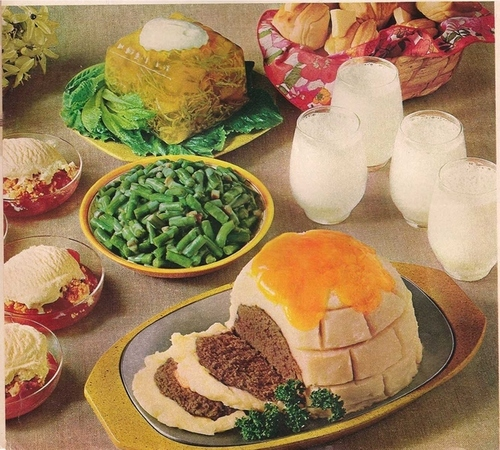 Only in Canada… Igloo made with meatloaf and mashed potatoes