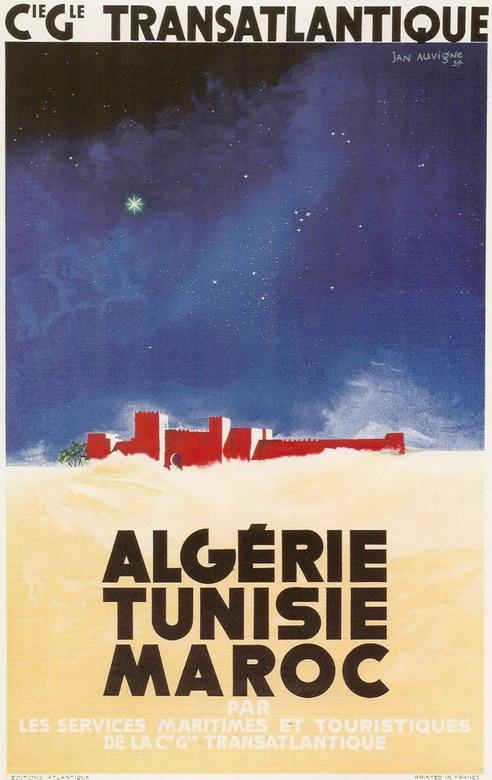 Algerie, Tunisie, et Maroc par Compagnie Generale Transatlantique, 1934