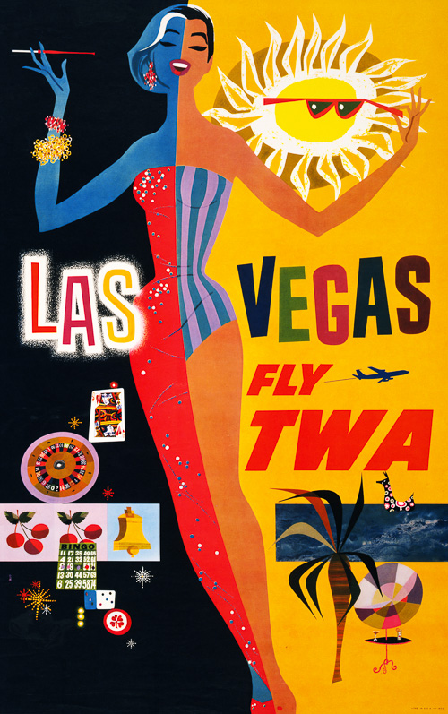 TWA ad for Las Vegas, early or mid 1960s Ithink