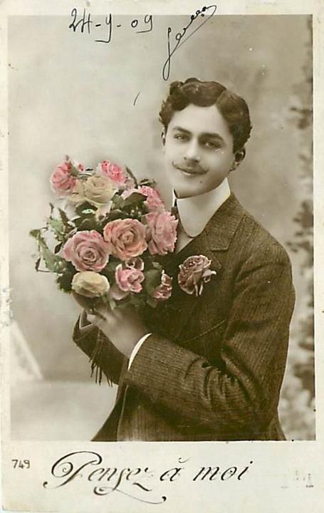 French Romantic Postcard – Pensez amoi
