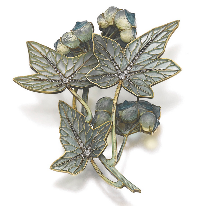 Art Nouveau Brooch (with inlaid diamonds)