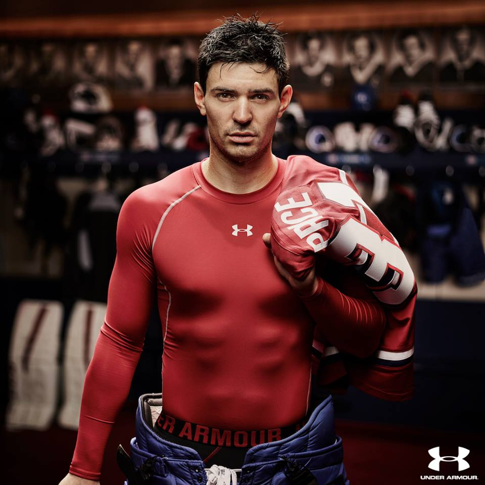 Carey Price, goaltender for the Montreal Canadiens and an Olympic gold medal winner, in a current UnderArmour clothing ad