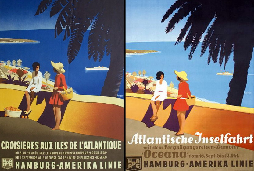 French and German versions of Hamburg-Amerika Line poster, 1930