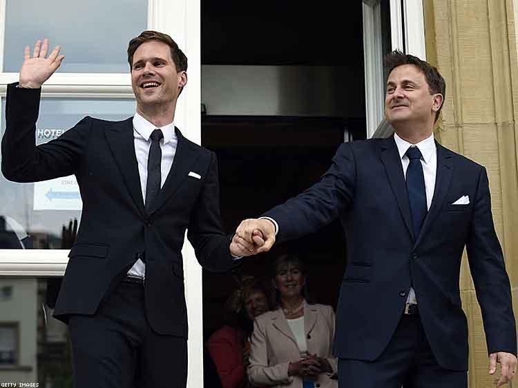 The Prime Minister of Luxembourg and his husband after their recent wedding