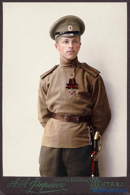 Colourized portrait of a Russian soldier, WWI
