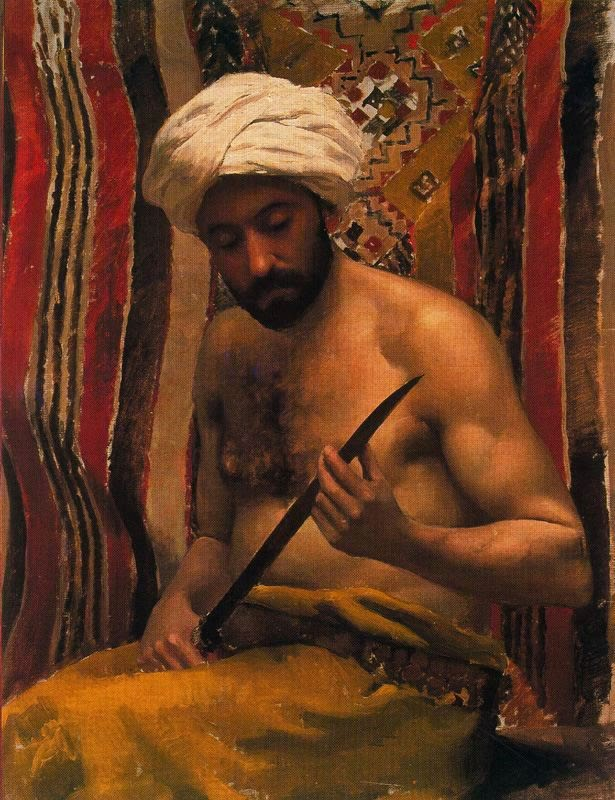 Painting of a man with aknife