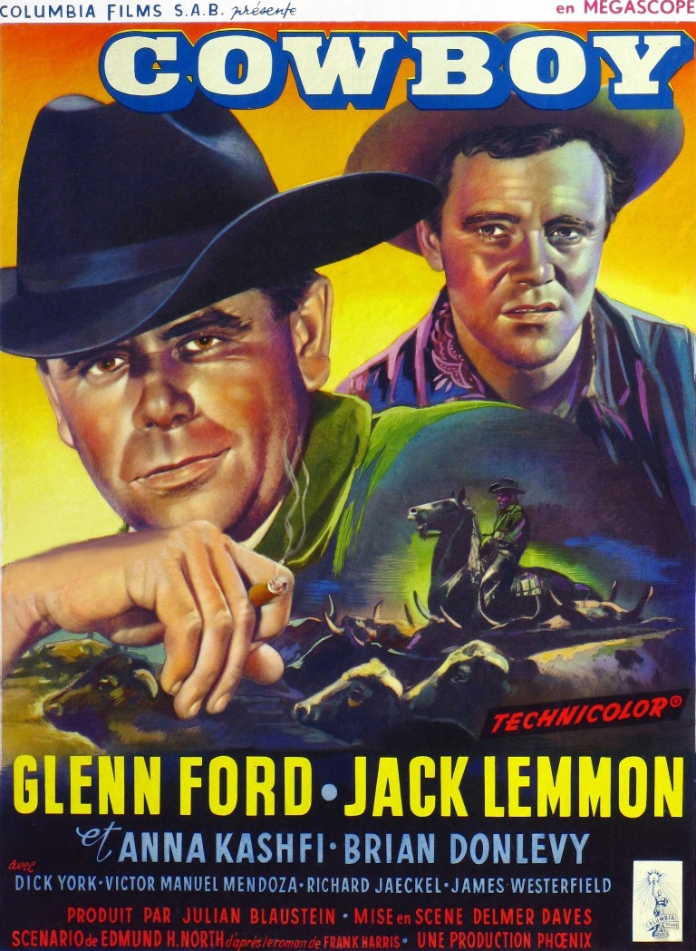 """Glenn Ford and Jack Lemmon in """"Cowboy"""""""