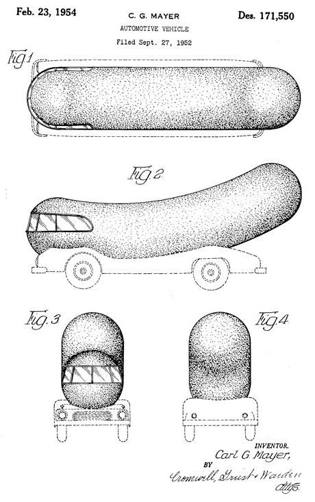 Patent drawings for the Oscar Mayer Wiener Mobile,1954