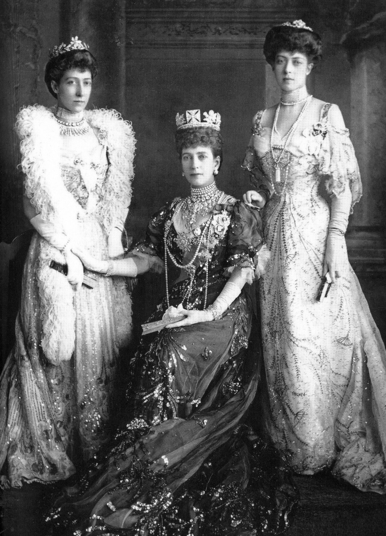 Portrait of Queen Alexandra of the United Kingdom and her daughters Princesses Louise and Victoria,1905