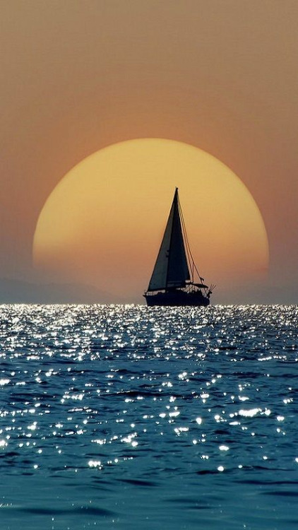 Sailboat at sunset, Greece