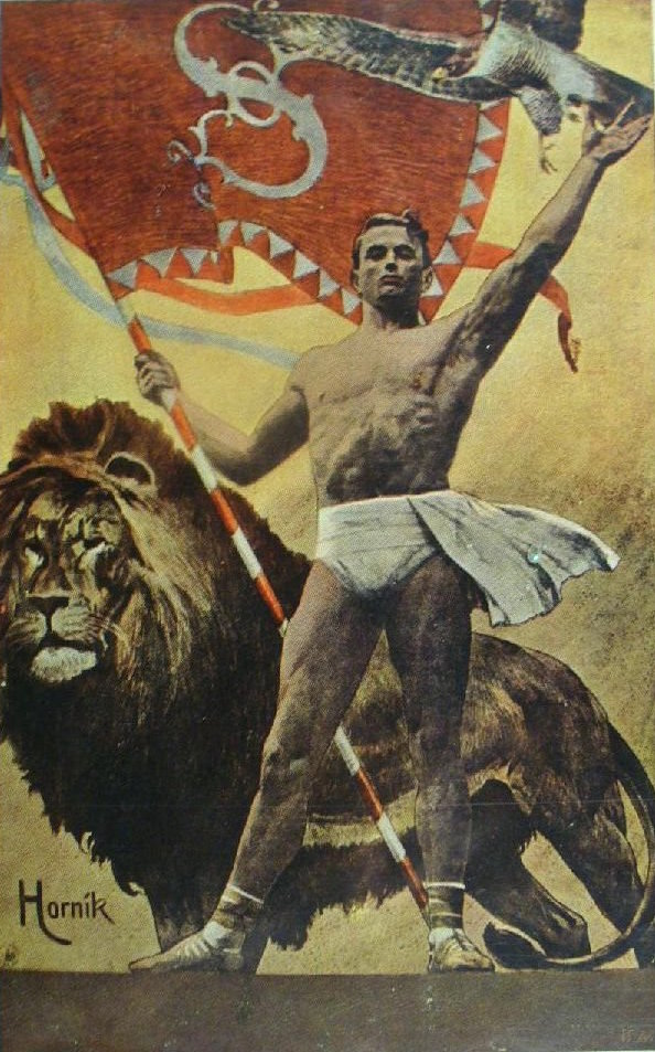 Part of a poster for some athletic competition in Prague,1912
