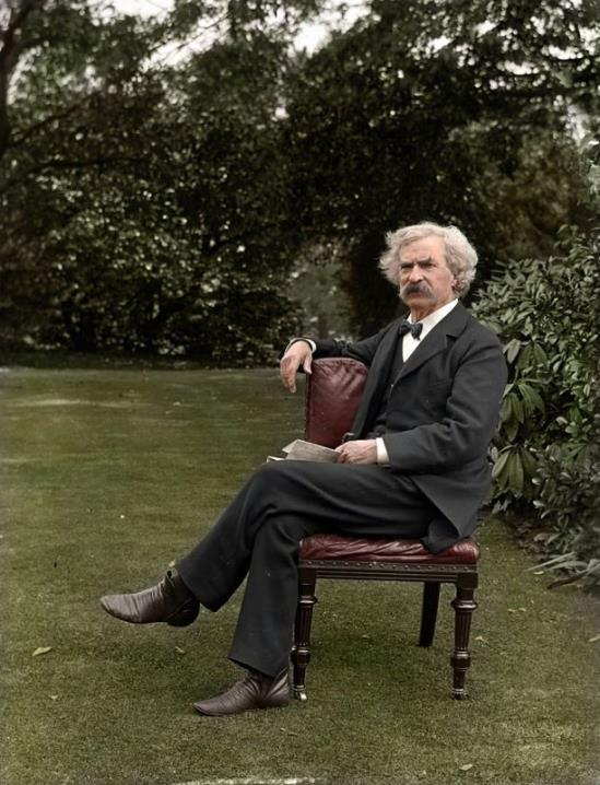 Colourized photo of American author Mark Twain (Samuel Clemens), 1900