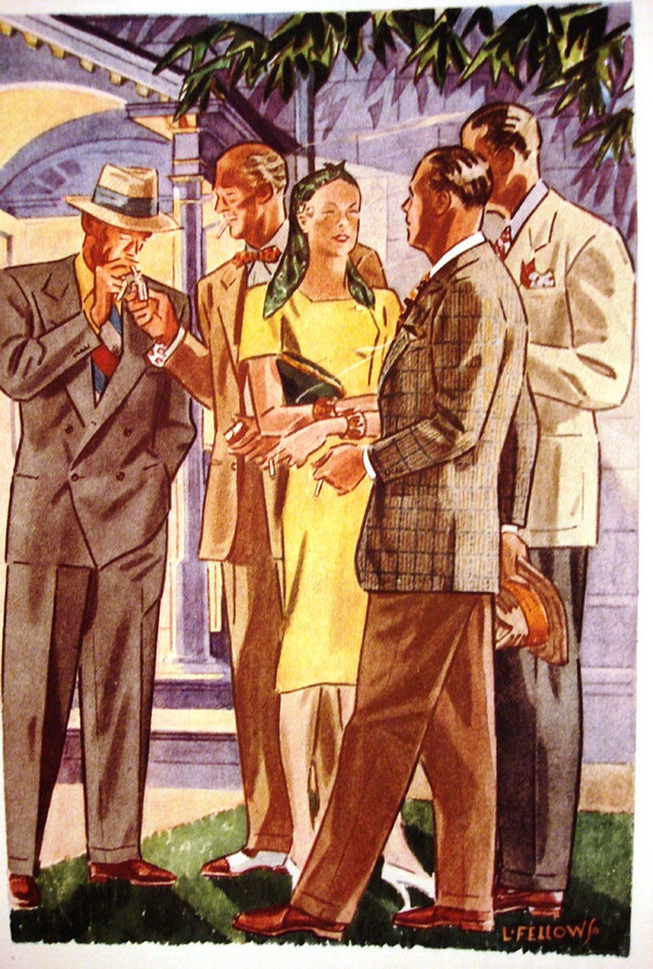 1930s Fashion illustration by L. Fellows for Esquire