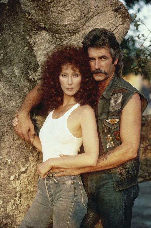 "Cher & Sam Elliott in a promo shot for ""Mask"", 1985"