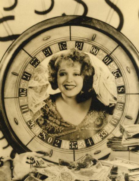 Clara Bow framed in a roulettewheel