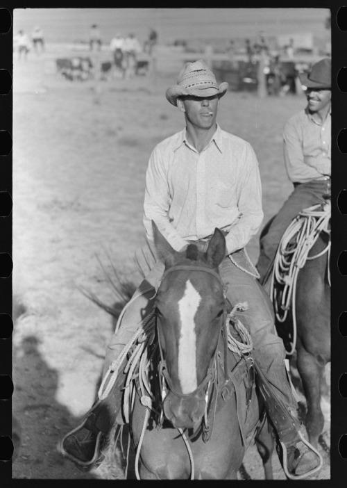Cowboy on horse, Bean Day rodeo, Wagon Mound, Mew Mexico. 1939