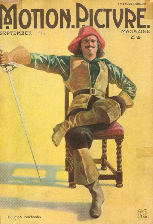 """Douglas Fairbanks Sr. as a pirate on the cover of """"Motion Picture"""",1921"""