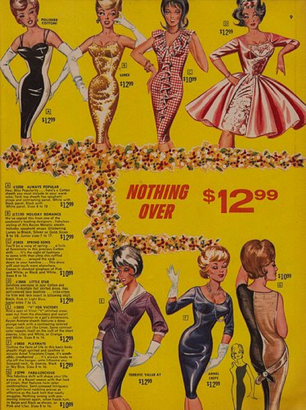"""Fashions from the ever-cheesy """"Frederick's of Hollywood"""" circa1960"""