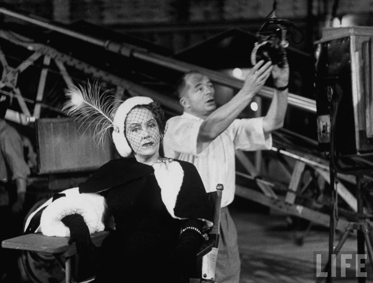 "Gloria Swanson and Billy Wilder on the set of ""Sunset Boulevard"""