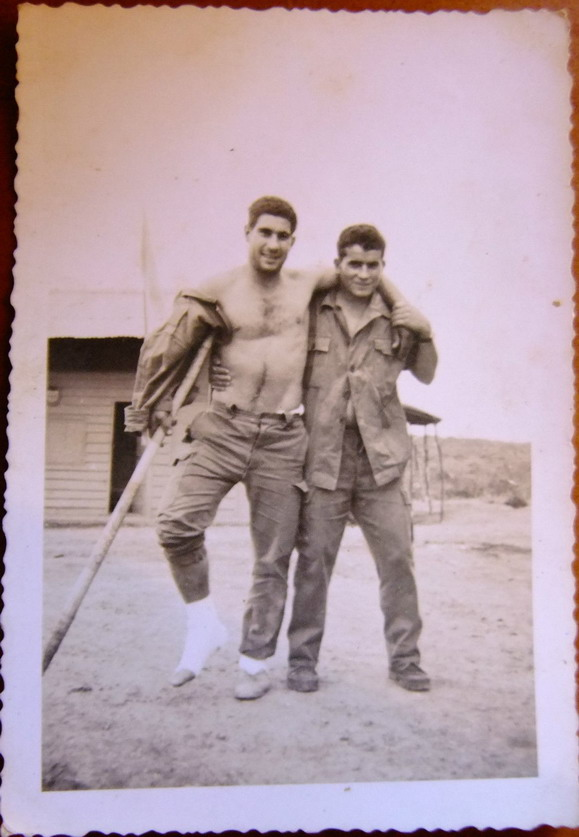 Injured soldier and pal